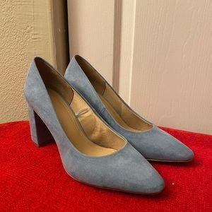 Blue suede block heel